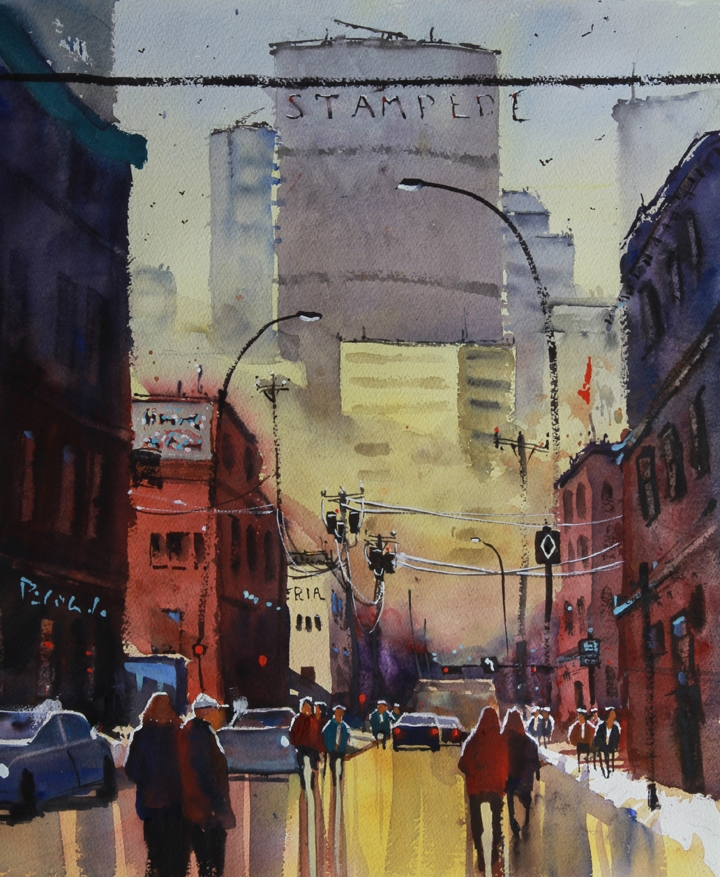 Rex Beanland, Winter Sun, Inglewood, watercolour, 20 x 16