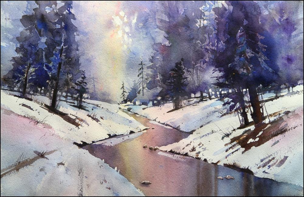 Rex Beanland, Elbow Creek final, watercolour, 15 x 22