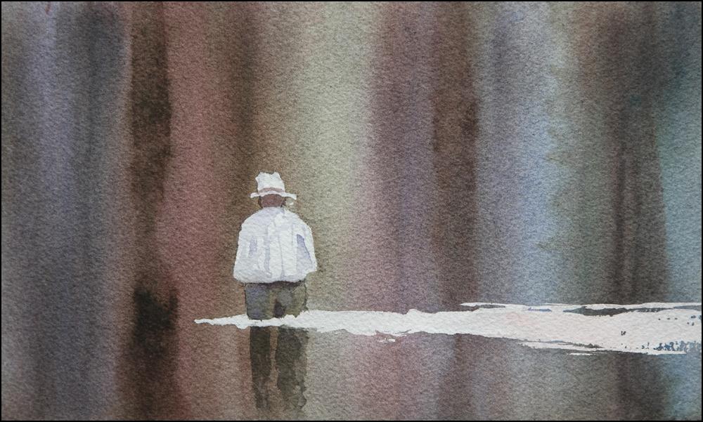 Rex Beanland, Fishin' The Boy 1, watercolour, 8 x 10
