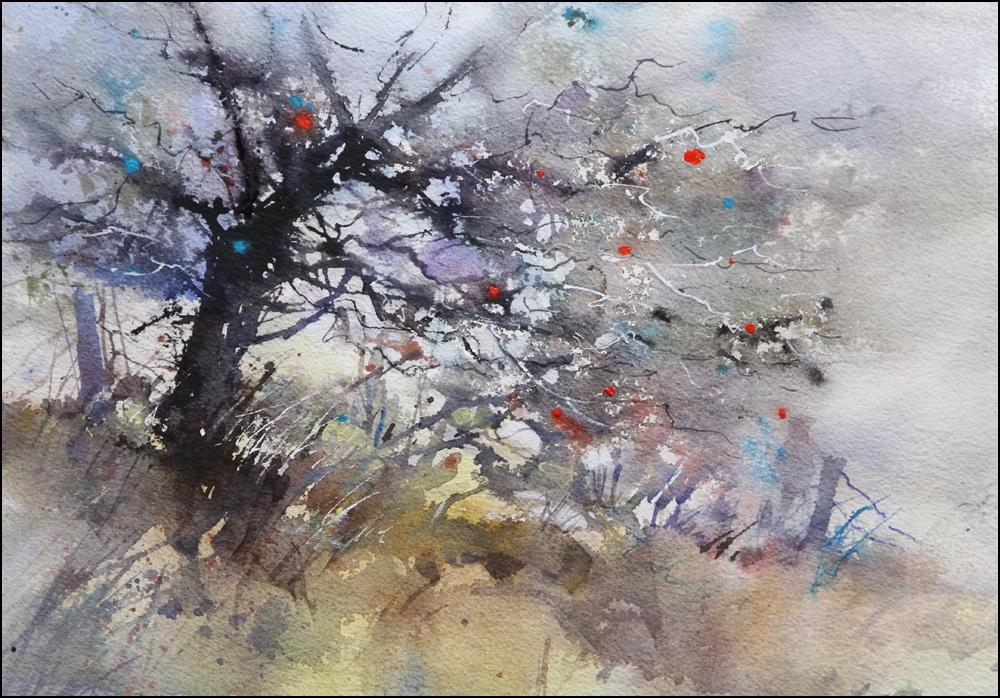 Rex Beanland, Glenmore Tree 2, watercolour, 9 x 12