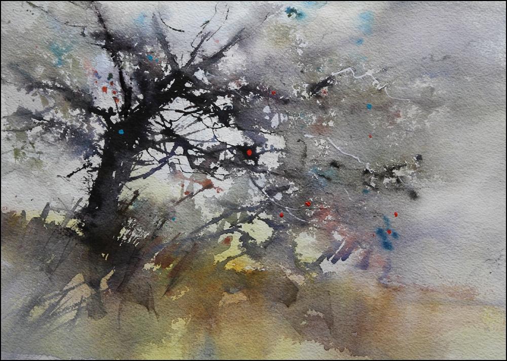 Rex Beanland, Glenmore Tree 1, watercolour, 15 x 22