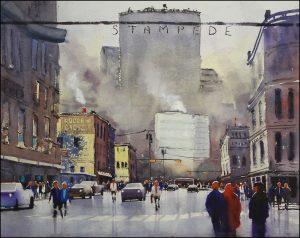 Rex Beanland, Stampede City, watercolour, 24 x 30