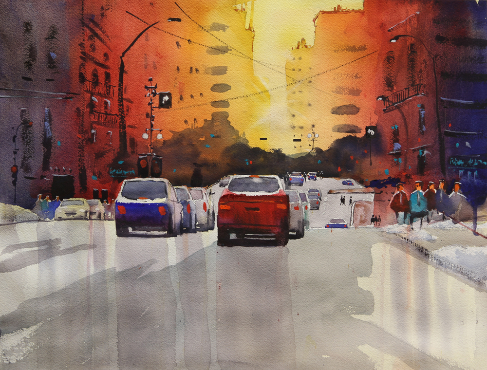 Rex Beanland, Mr Cool Surveys The Avenue, watercolour, 15 x 20