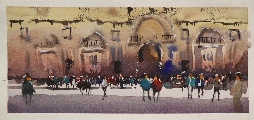 Rex Beanland, Crowd Practice 1, watercolour, 5 x 13