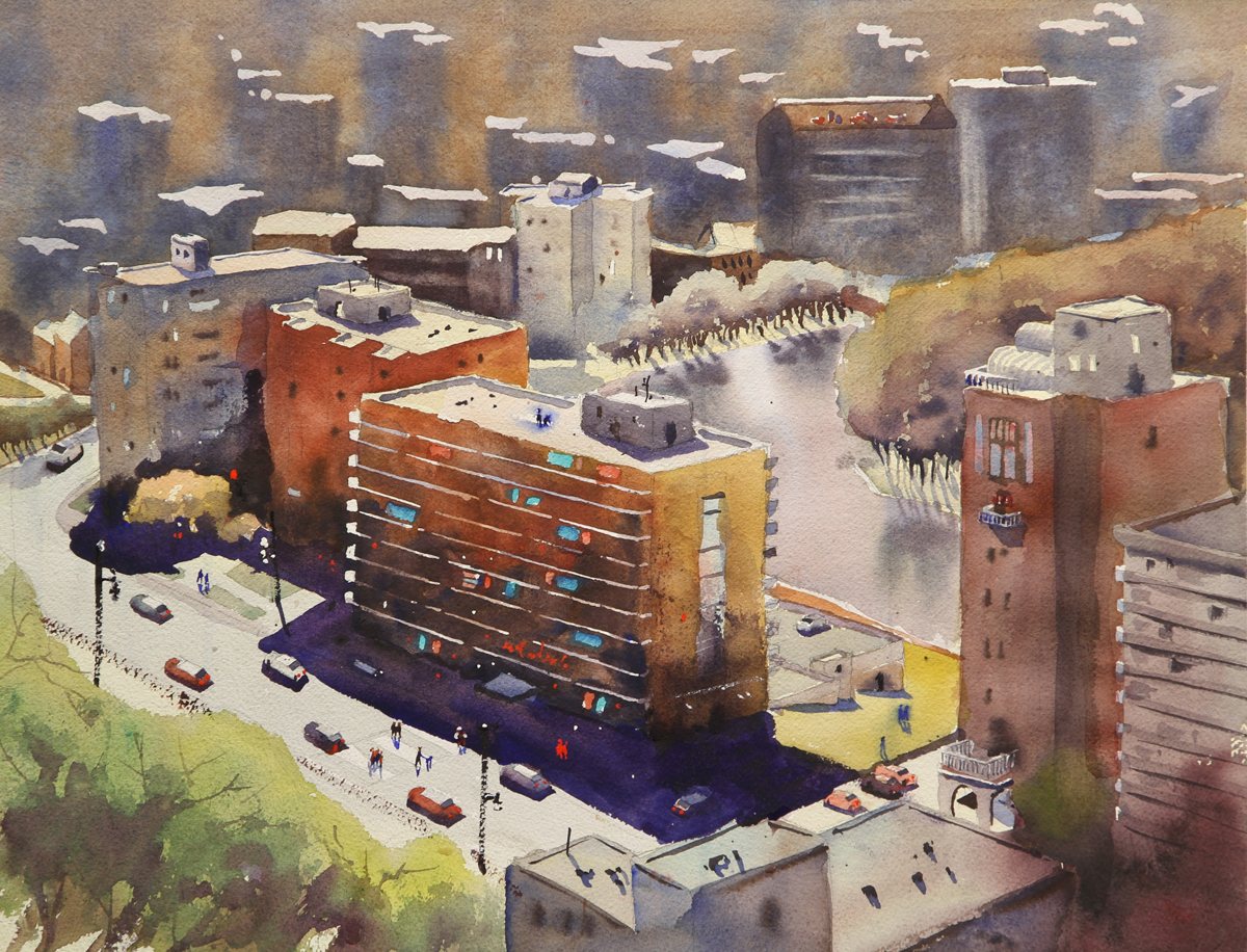 Rex Beanland, Winnipeg From The 32nd Floor, watercolour, 15 x 20
