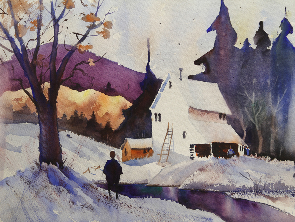Rex Beanland, Country View, watercolour, 15 x 20
