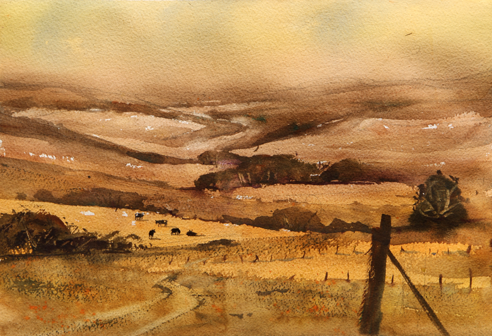 Rex Beanland, Another View Of The Foothills, watercolour, 9 x 12