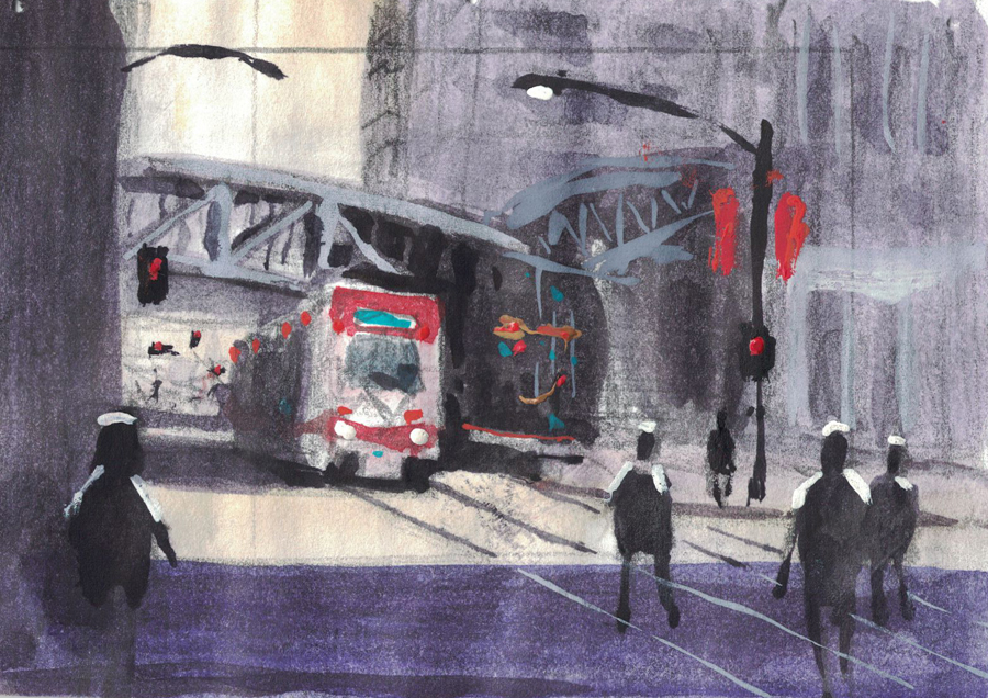 Rex Beanland, The LRT, First Go, watercolour, 7 x 6