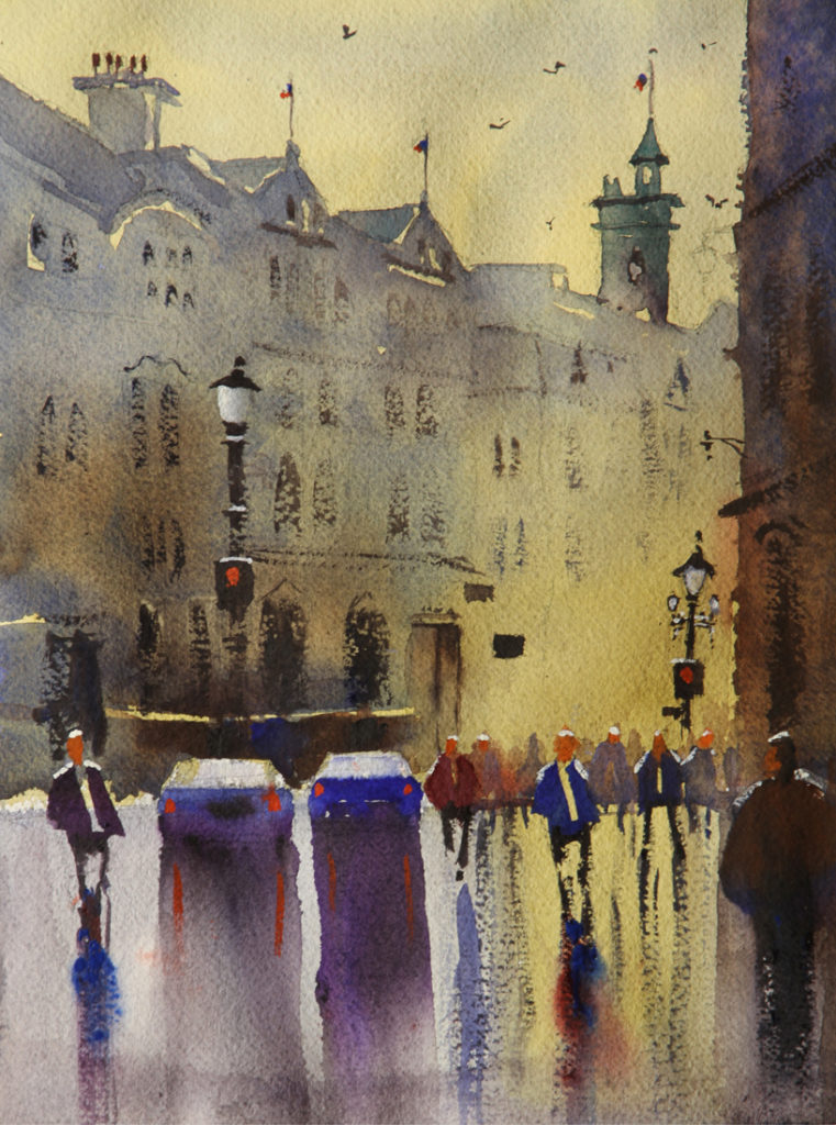 Rex Beanland, Charing Cross, watercolour, 9 x 12