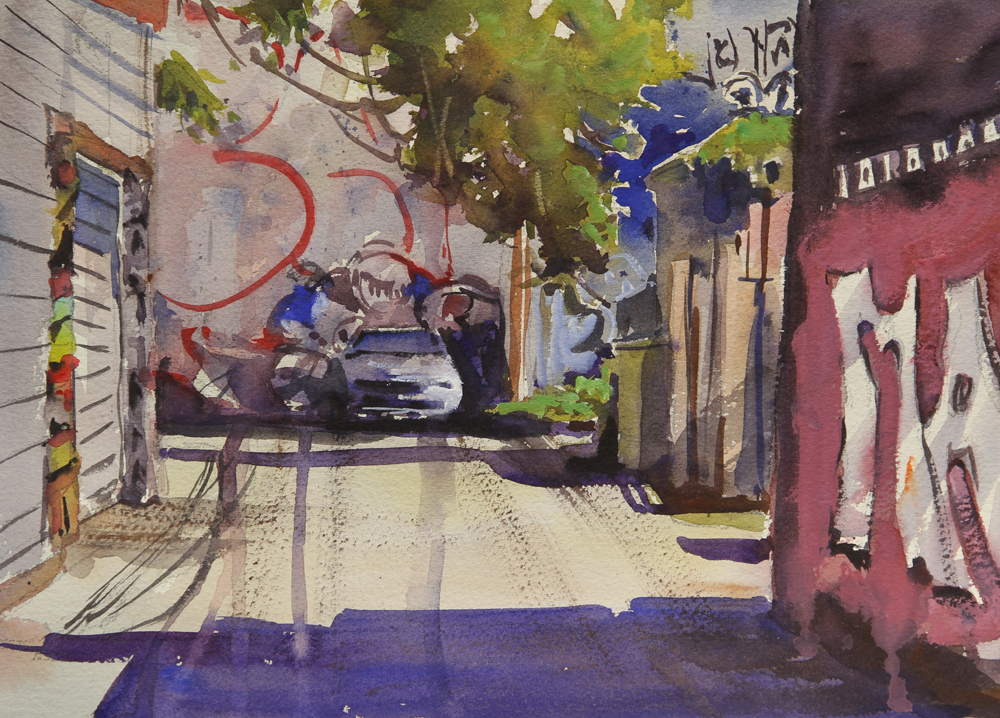 Rex Beanland, Kensington Market , watercolour, 9 x 12