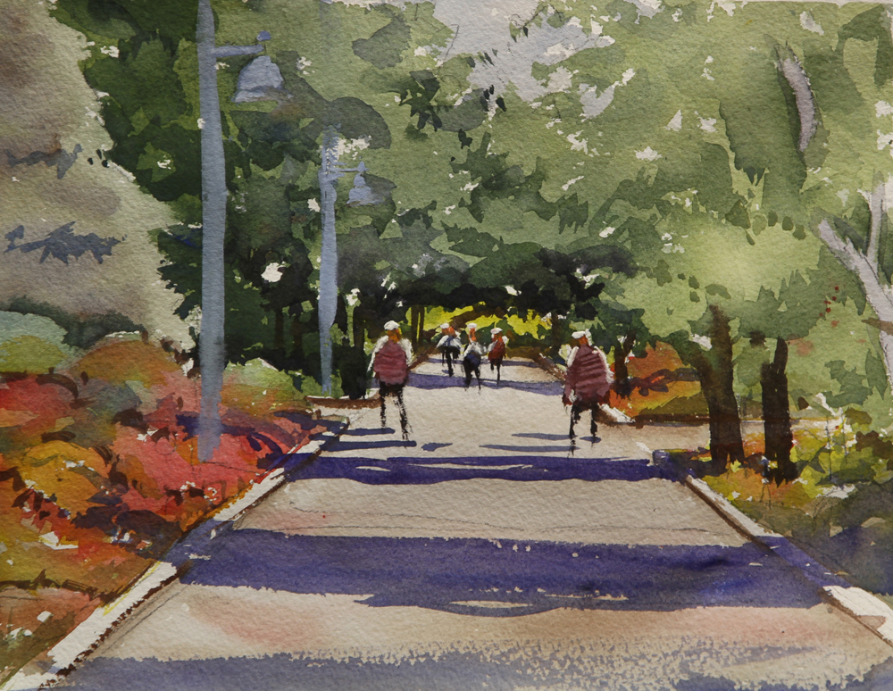 Rex Beanland, Shady Path Toronto, watercolour 8 x 10