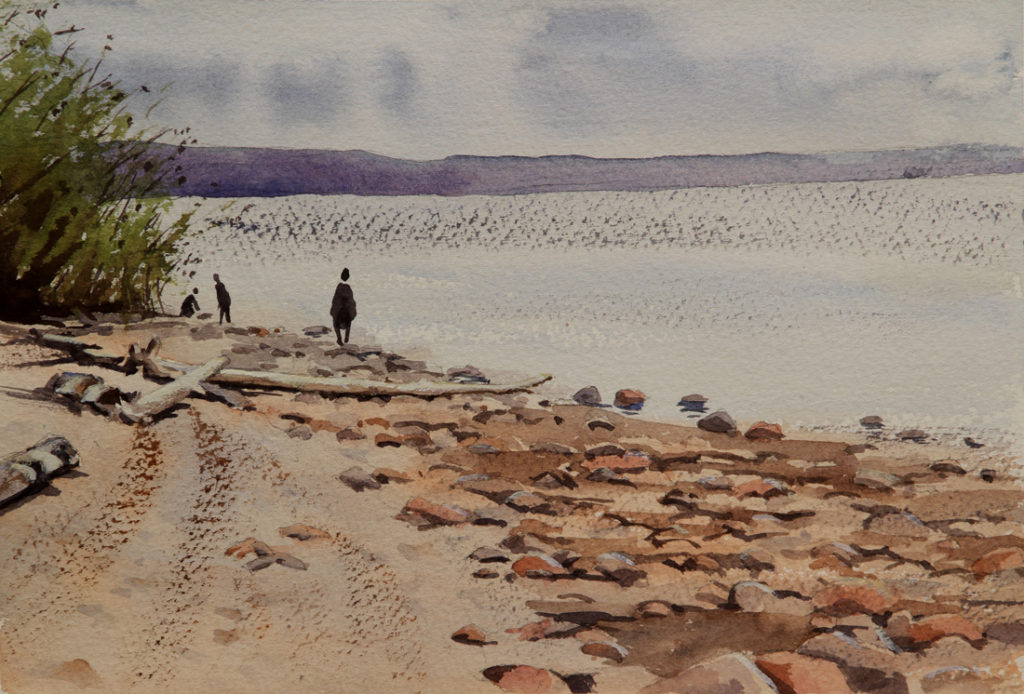 Rex Beanland, Slave Lake Walkabout, watercolour, 9 x 12