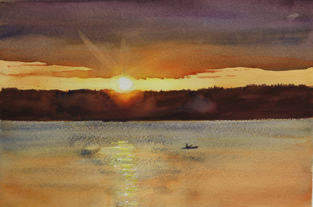 Rex Beanland, Sunset Over Thunder Lake, watercolour, 9 x 12