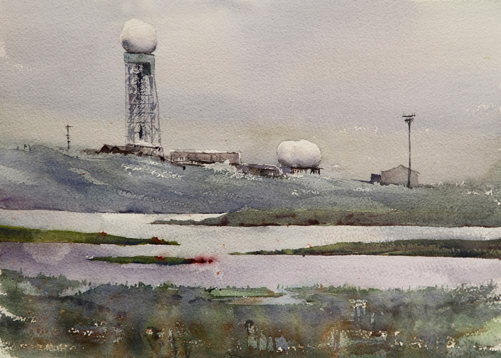 Rex Beanland, Arctic Storm, Tuktoyaktuk, watercolour, 11 x 15