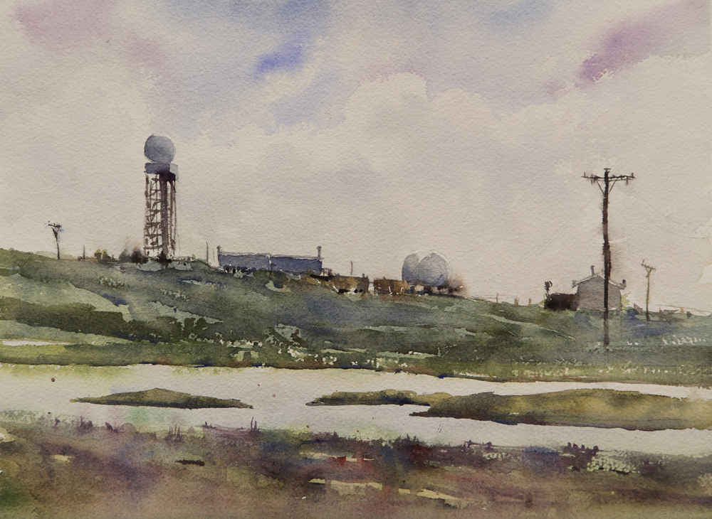 Rex Beanland, Summer Day, Tuktoyaktuk, watercolour, 11 x 15