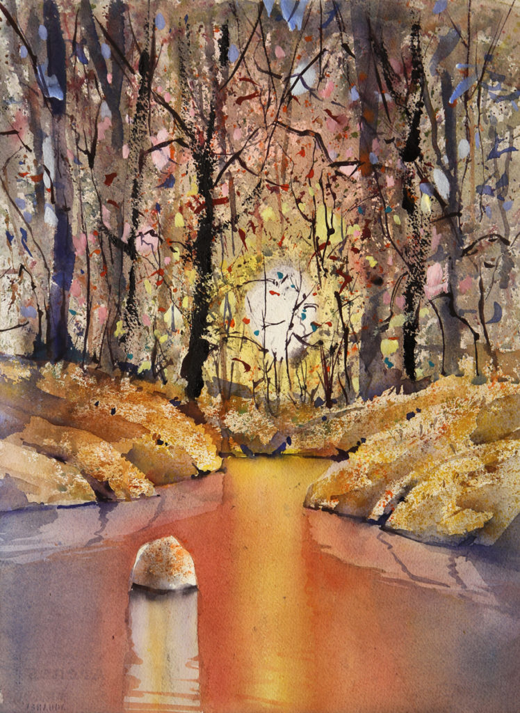Rex Beanland, The Hat Art Club Workshop, Cameron Pond, watercolour, 20 x 15