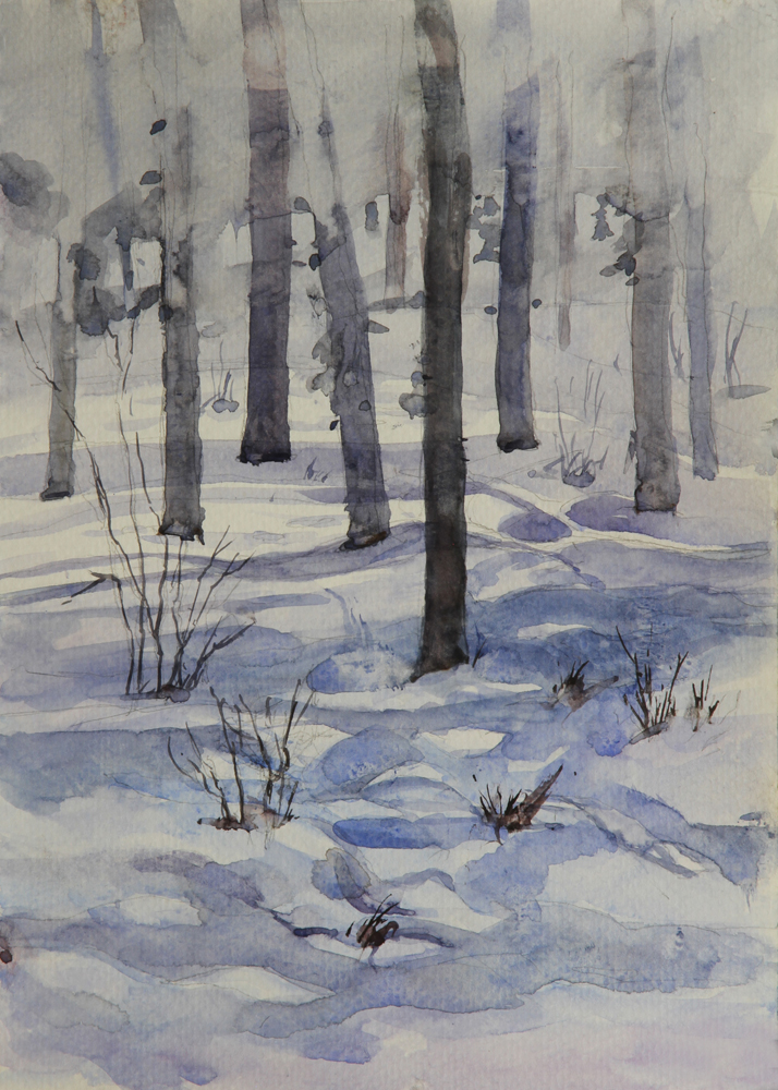 Rex Beanland, Bragg Creek 2, watercolour, 9 x 12