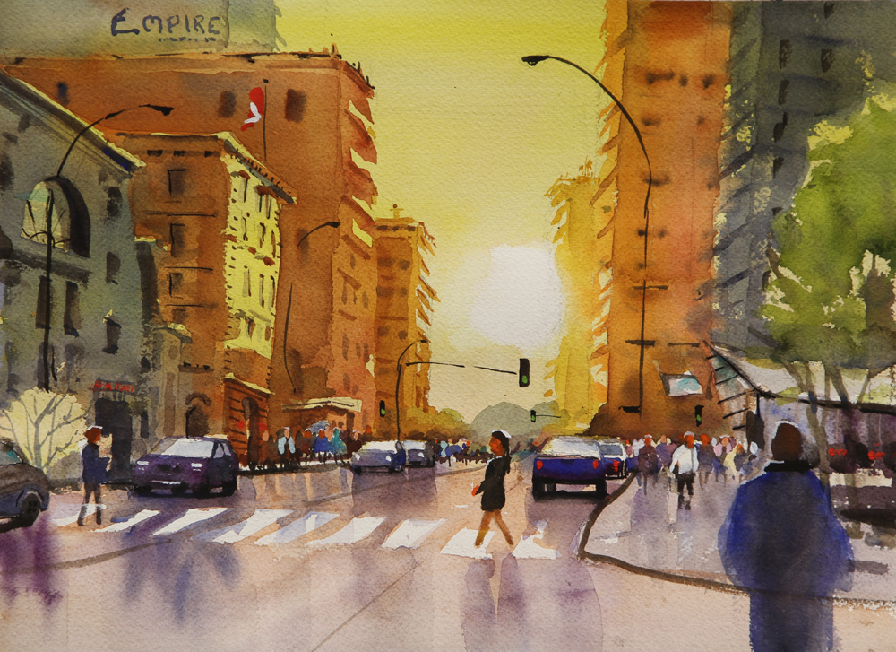 Rex Beanland, Empire Building, Edmonton 1, watercolour, 11 x 15