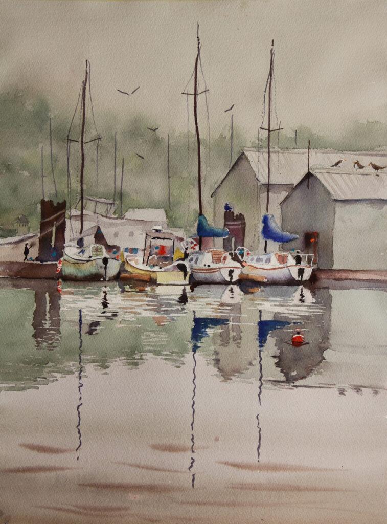 Rex Beanland, Boats at Gibsons, watercolour, 20 x 15