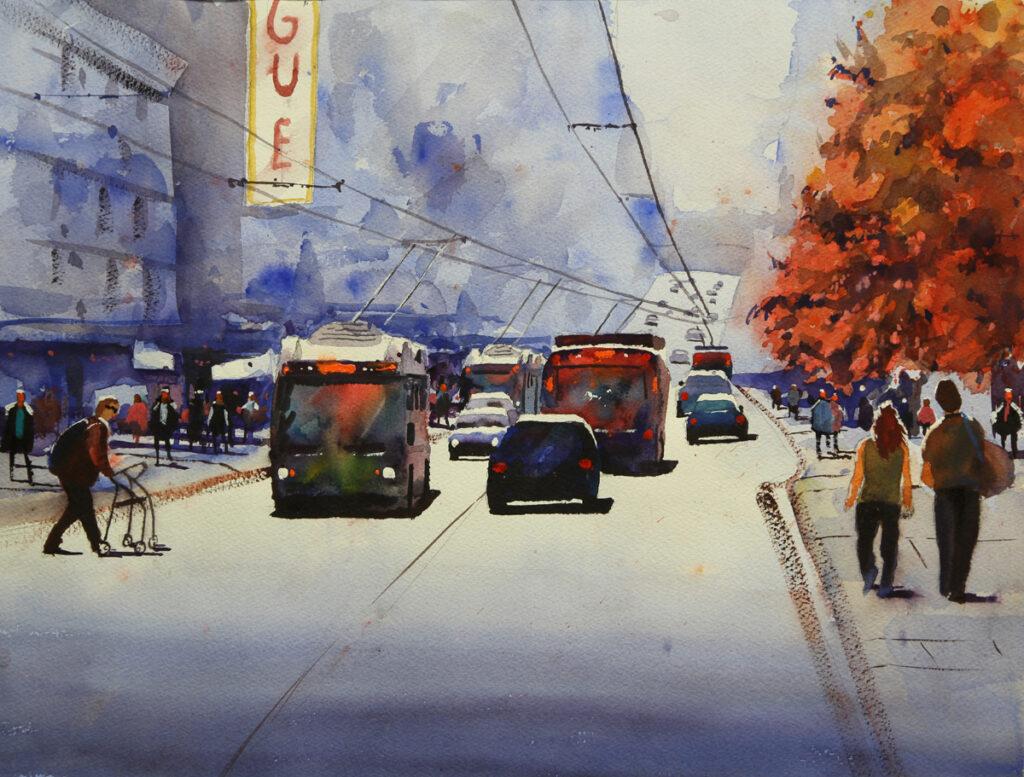 Rex Beanland, Granville St, watercolour, 15 x 20, Gibsons