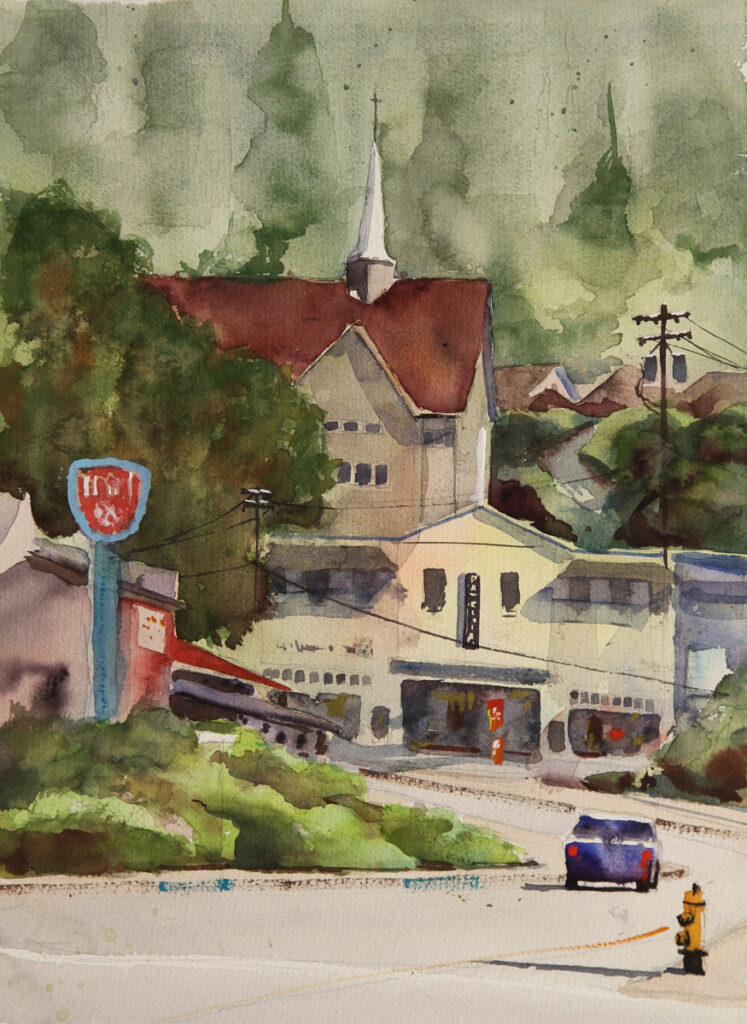 Rex Beanland, Historic Town Site, Powell River, watercolour, 15 x 11