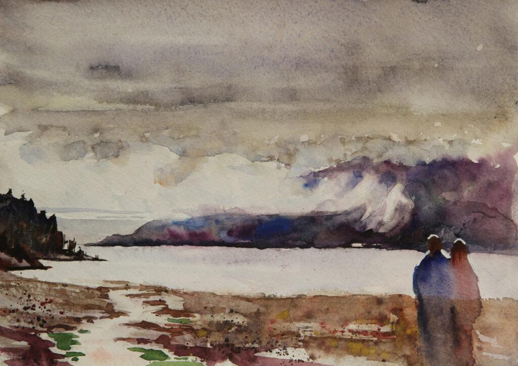 Rex Beanland, Lang Bay, watercolour, 9 x 12