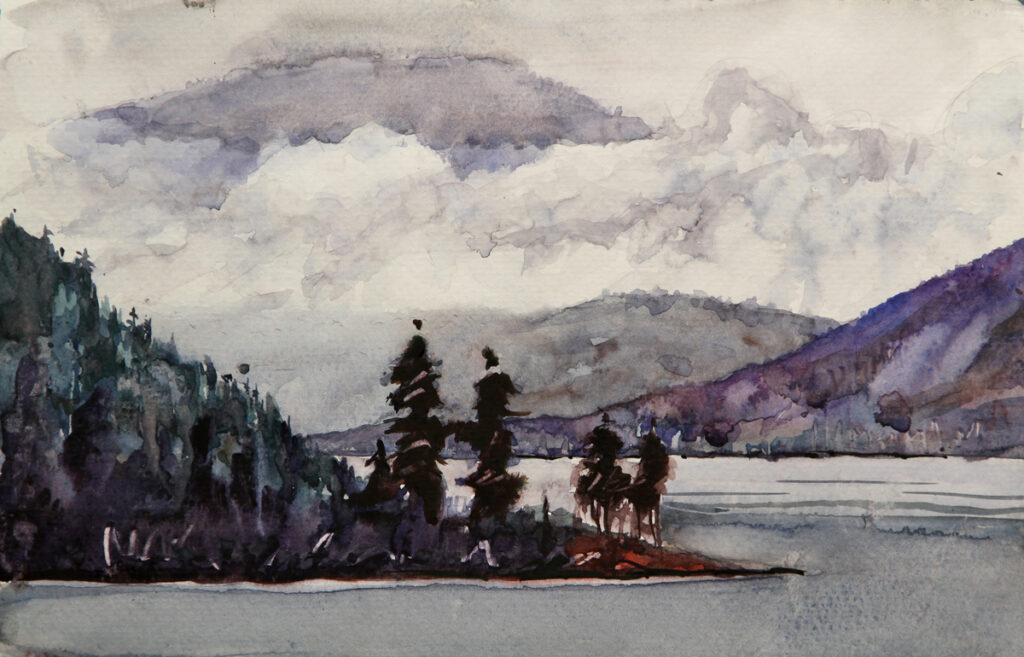 Rex Beanland, Saltry Bay, watercolour 9 x 12