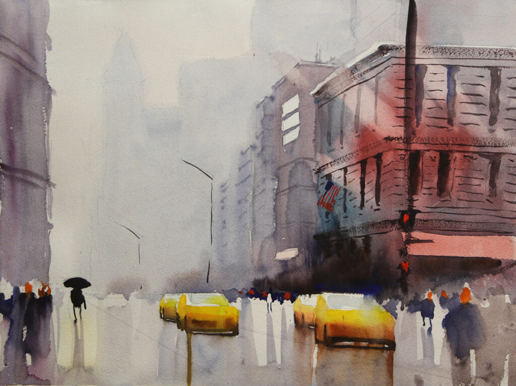 Rex Beanland, NYC Street, watercolour, 15 x 20