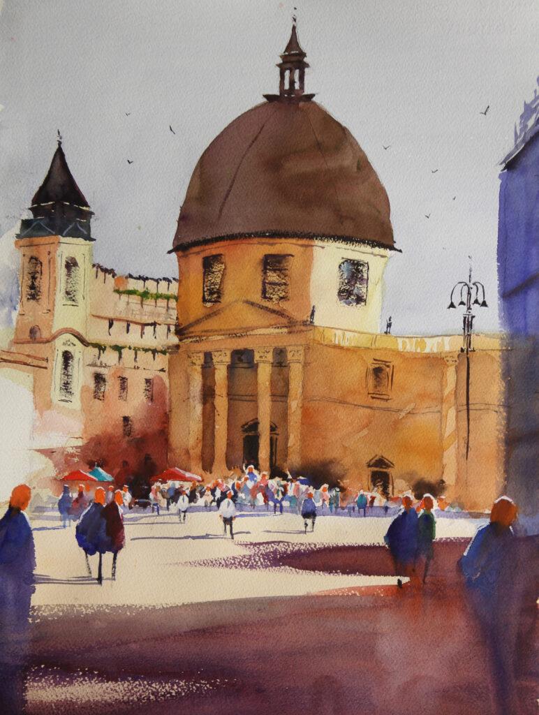 Rex Beanland, Piazza del Popolo, watercolour, 20 x 15